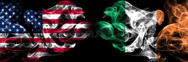 Vereinigte Staaten von Amerika, USA gegen Irland, irischer Hintergrund abstraktes Konzept Frieden raucht Flaggen vektor abbildung