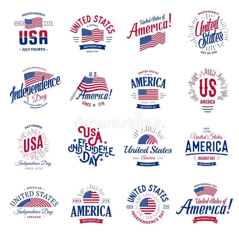 Vereinigte Staaten von Nordamerika Vector Logo-Weinlesesatz Unabhängigkeitstagnationalfeiertagikonensammlungsblau und -ROT stock abbildung