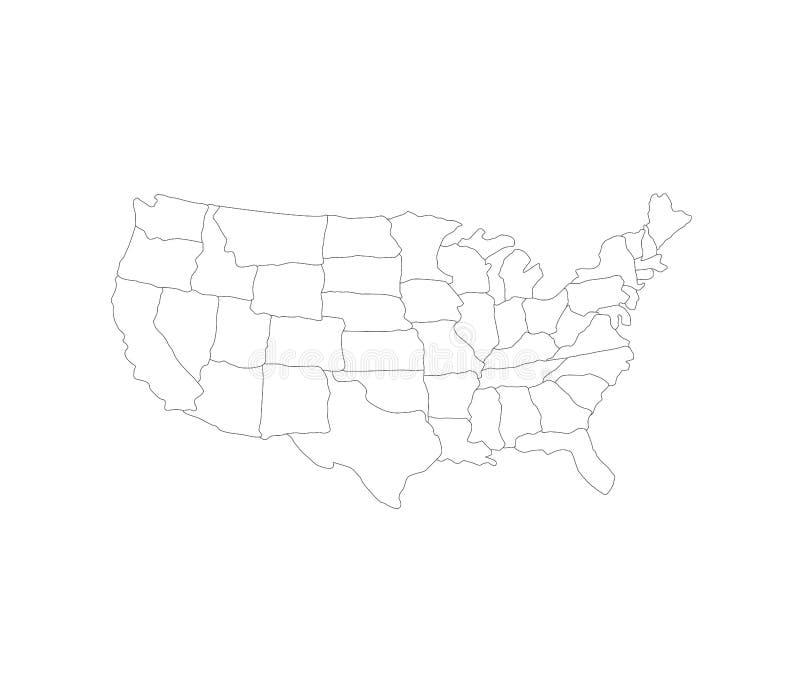 Vereinigte Staaten zeichnen mit Regionen auf vektor abbildung