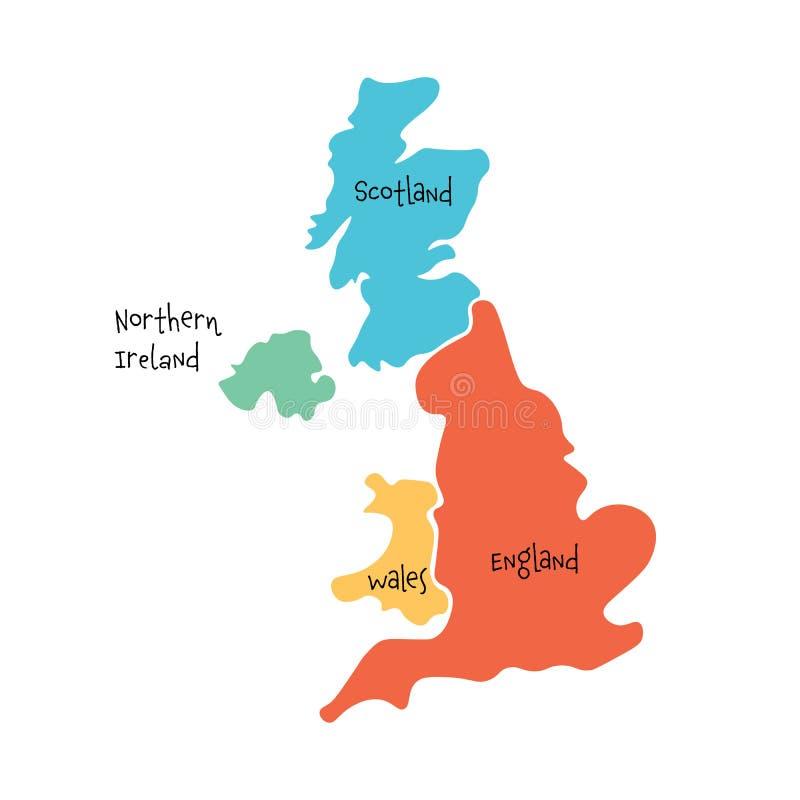 Vereinigtes Königreich, alias Großbritannien, von Hand gezeichneter leerer Karte Großbritanniens und Nordirlands Geteilt zu vier  lizenzfreie abbildung