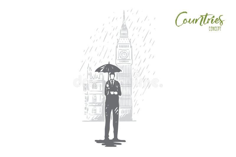Vereinigtes Königreich, England, Turm, Regen, Großbritannien-Konzept Hand gezeichneter lokalisierter Vektor stock abbildung