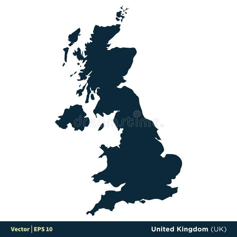 Vereinigtes K?nigreich Gro?britannien - Europa-L?nder zeichnen Vektor-Ikonen-Schablonen-Illustrations-Entwurf auf Vektor ENV 10 stock abbildung