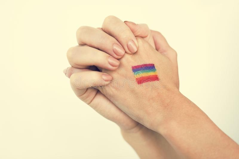 Vereinigtes Konzept LGBT lesbischer homosexueller bisexueller Transsexueller stockfotografie