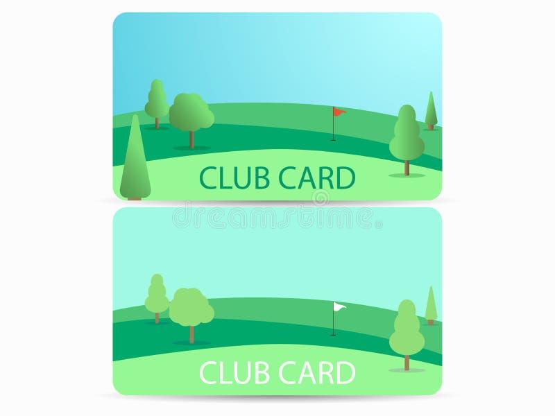 Vereinkarte mit einem Golfplatz Mitgliedschaft in einem Golfclub Feld mit einem Loch und einer Flagge Vektor stock abbildung