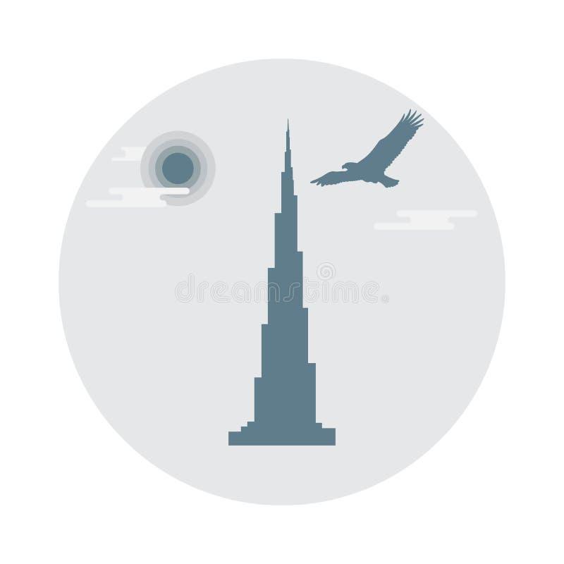 Verenigd Arabisch de wolkenkrabbersilhouet van Emiraten Beroemde buildin van Doubai vector illustratie