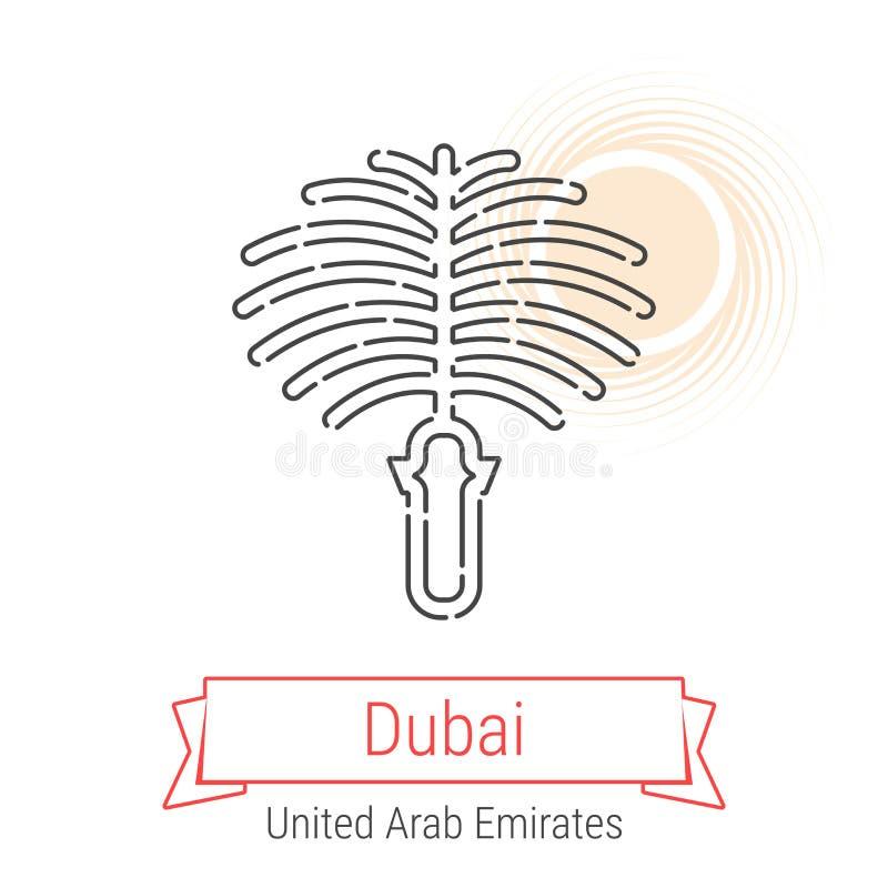 Verenigd Arabisch Emiraten Vector de Lijnpictogram van Doubai, vector illustratie