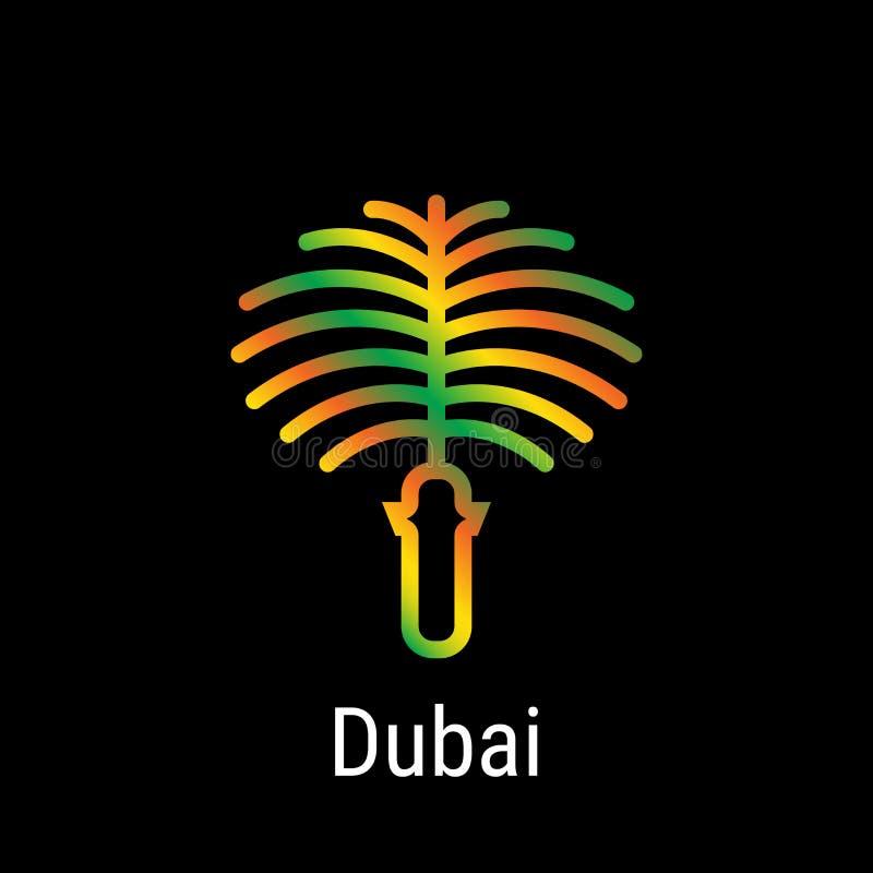 Verenigd Arabisch Emiraten Vector de Lijnpictogram van Doubai, stock illustratie