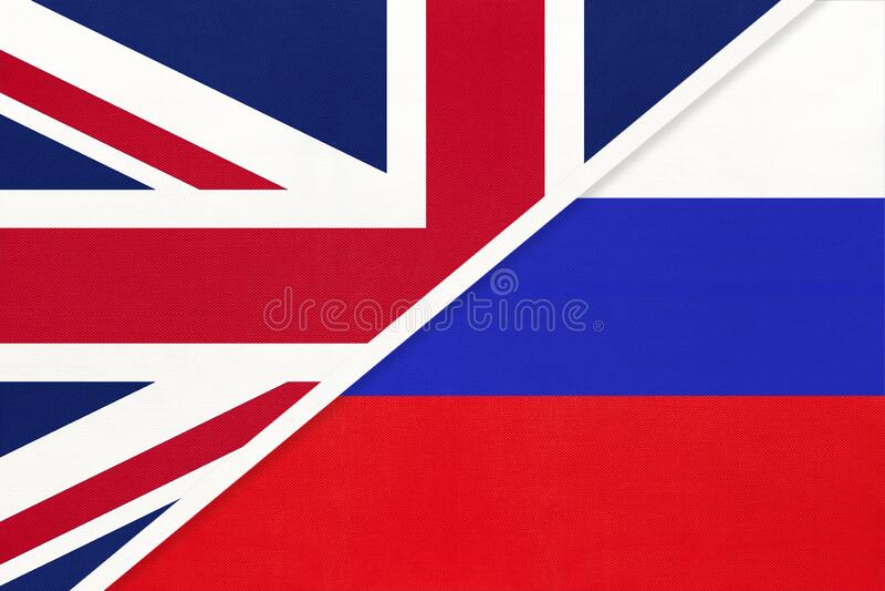 Verenigd Koninkrijk vs Russische nationale vlag van textiel Betrekkingen tussen twee europese landen royalty-vrije stock afbeelding