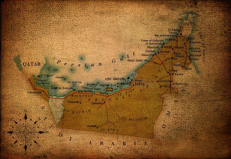 Verenigde Arabier van de kaart van Emiraten stock illustratie