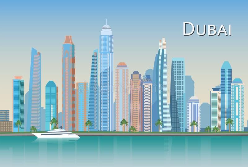 Verenigde Arabische Cityscapes van Doubai van Emiraten vector illustratie