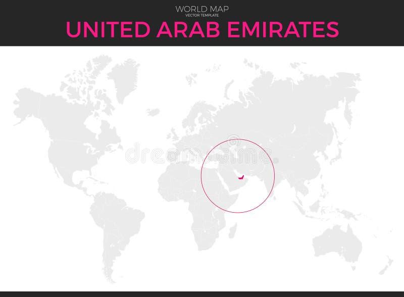 Verenigde Arabische de Plaatskaart van Emiraten stock illustratie