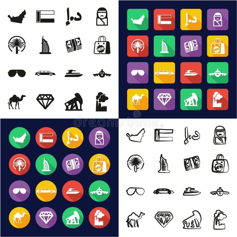 Verenigde Arabische Emiraten allen in Één Vlakke het Ontwerpreeks Uit de vrije hand van de Pictogrammen Zwarte & Witte Kleur stock illustratie