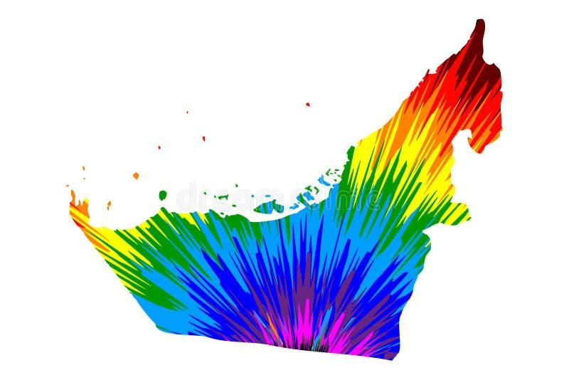 Verenigde Arabische Emiraten - de kaart is ontworpen regenboog abstract kleurrijk patroon, de Verenigde Arabische die kaart van d stock illustratie