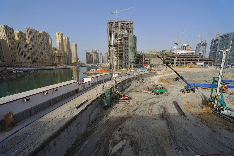 Verenigde Arabische Emiraten: Doubai; futurmetro royalty-vrije stock afbeelding