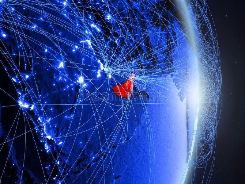 Verenigde Arabische Emiraten op blauwe blauwe digitale Aarde stock foto's