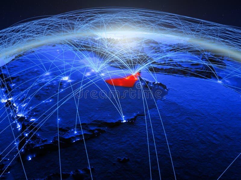 Verenigde Arabische Emiraten op blauwe digitale aarde met internationaal netwerk die mededeling, reis en verbindingen vertegenwoo royalty-vrije stock afbeelding