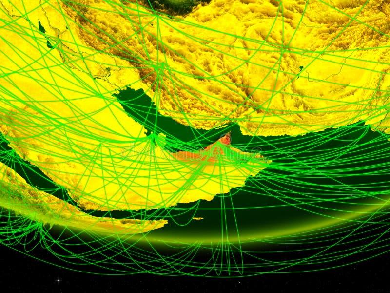 Verenigde Arabische Emiraten op groen model van aarde met netwerk die digitaal tijdperk, reis en mededeling vertegenwoordigen 3d stock foto