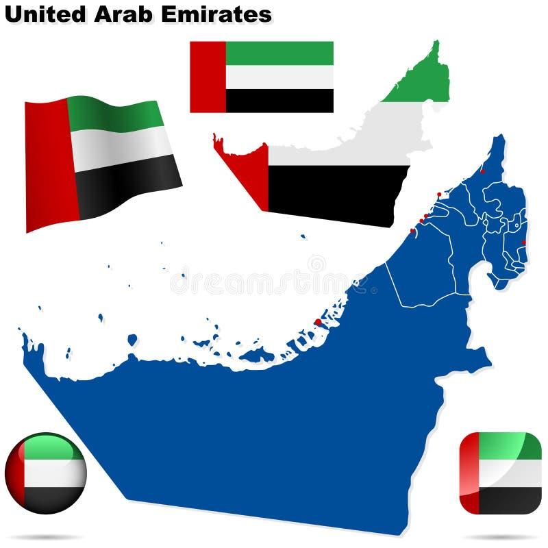 Verenigde Arabische geplaatste Emiraten. vector illustratie