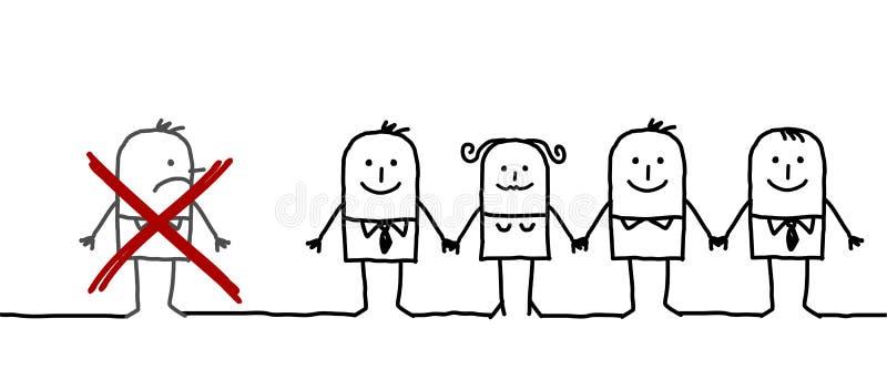 Verenigde groep & uitgesloten mens stock illustratie