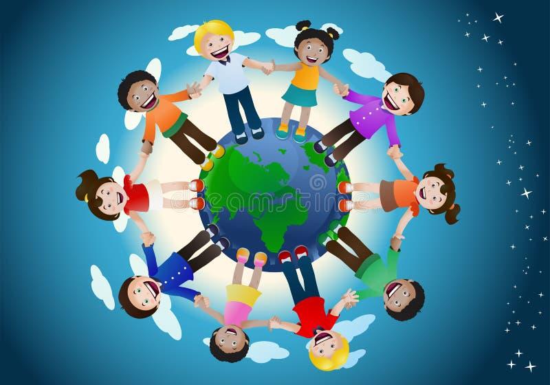 Verenigde het houden van kinderen hand rond de wereld stock illustratie