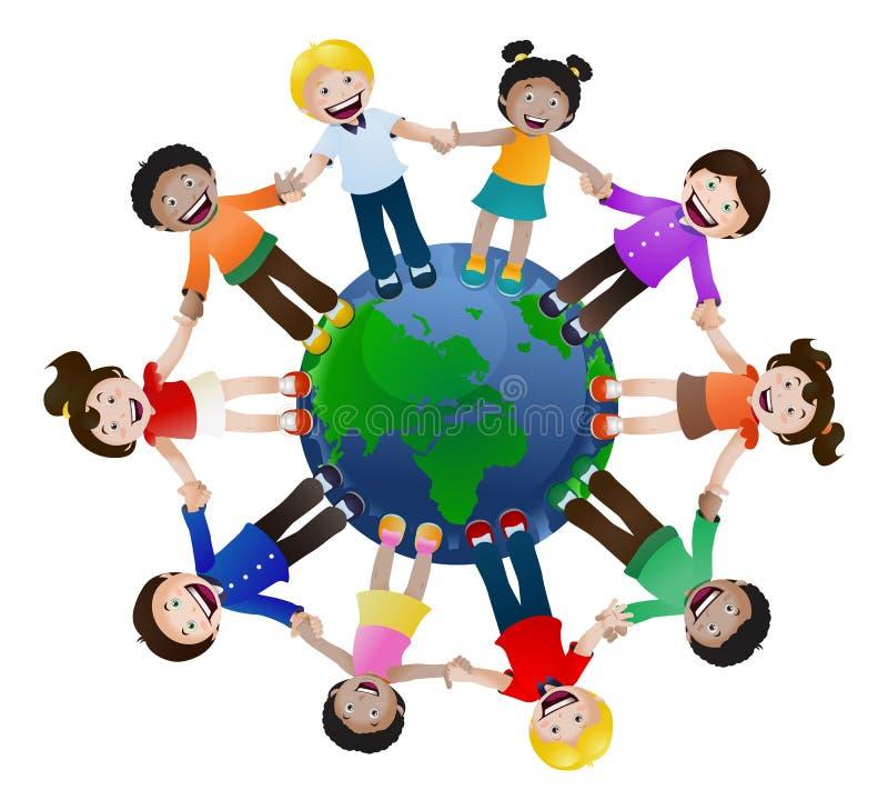 Verenigde kinderen het houden van hand rond de wereld op geïsoleerd stock illustratie