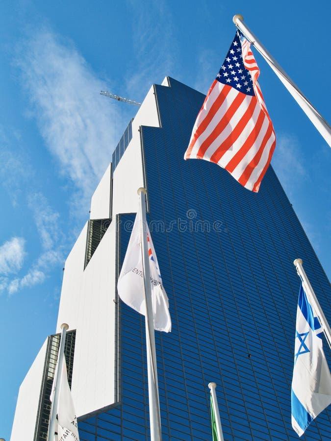 Verenigde Staes en Israëlische Vlaggen, Wereldhandeltoren en Tentoonstellingscentrum, Seoel royalty-vrije stock foto's
