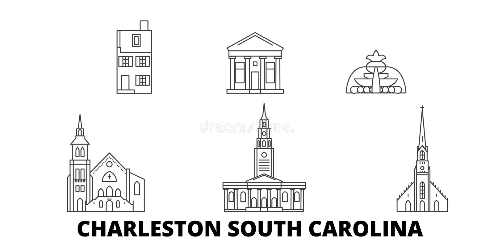 Verenigde Staten, Charleston South Carolina-de horizonreeks van de lijnreis Verenigde Staten, Charleston South Carolina-overzicht vector illustratie