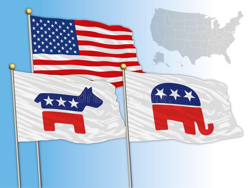 VERENIGDE STATEN - JAAR 2016 - Vlaggen met symbolen van Democratisch en Republikeins, u S presidentsverkiezingen 2016 royalty-vrije illustratie