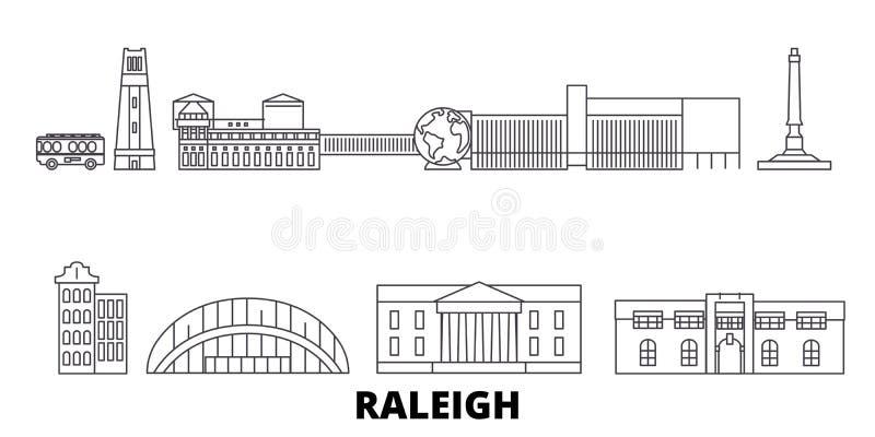 Verenigde Staten, Raleigh-de horizonreeks van de lijnreis Verenigde Staten, Raleigh-de vectorillustratie van de overzichtsstad, s vector illustratie