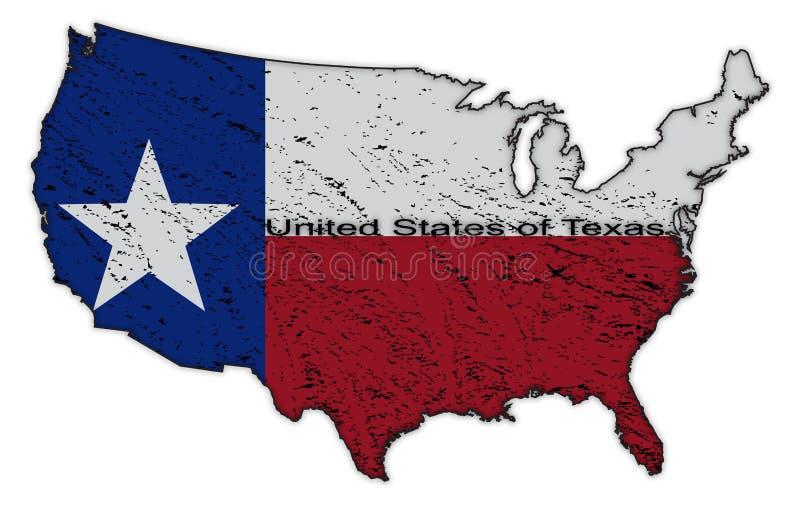 Verenigde Staten van Texas Flag in Kaart Grunged stock illustratie