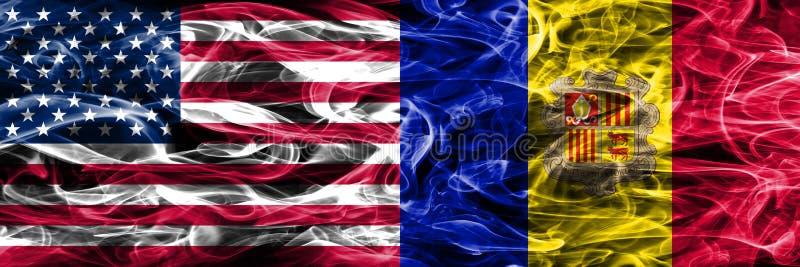 Verenigde Staten versus Andorra roken zij aan zij geplaatst vlaggenconcept stock illustratie