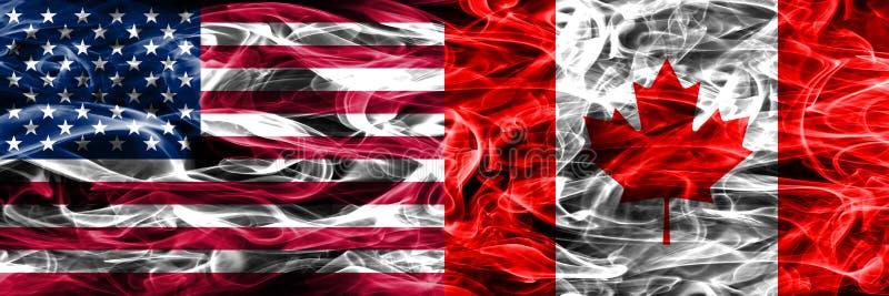 Verenigde Staten versus Canada roken zij aan zij geplaatst vlaggenconcept stock illustratie