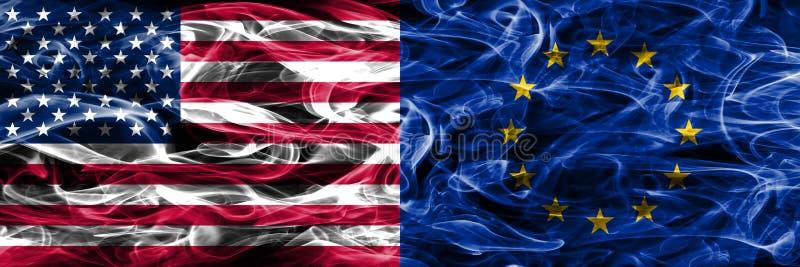 Verenigde Staten versus de EU roken zij aan zij geplaatst vlaggenconcept eur royalty-vrije illustratie
