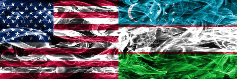 Verenigde Staten versus Oezbekistan roken vlaggenconcept geplaatste kant door s royalty-vrije illustratie