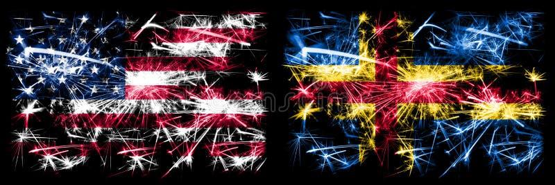Verenigde Staten, Verenigde Staten vs. Aland New Year viering sparkling vuurworks flags concept background Combinatie van twee stock afbeeldingen