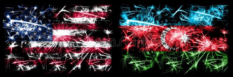 Verenigde Staten, VS vs Azerbeidzjan, Azerbeidzjan, nieuwjaarsviering van het spookvuurwerk - achtergrond van het vlaggenstaatcon royalty-vrije stock afbeeldingen