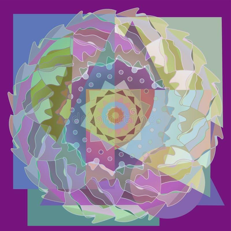Verenmandala Lineair ontwerp abstracte achtergrond PASTELKLEURENpallet vector illustratie