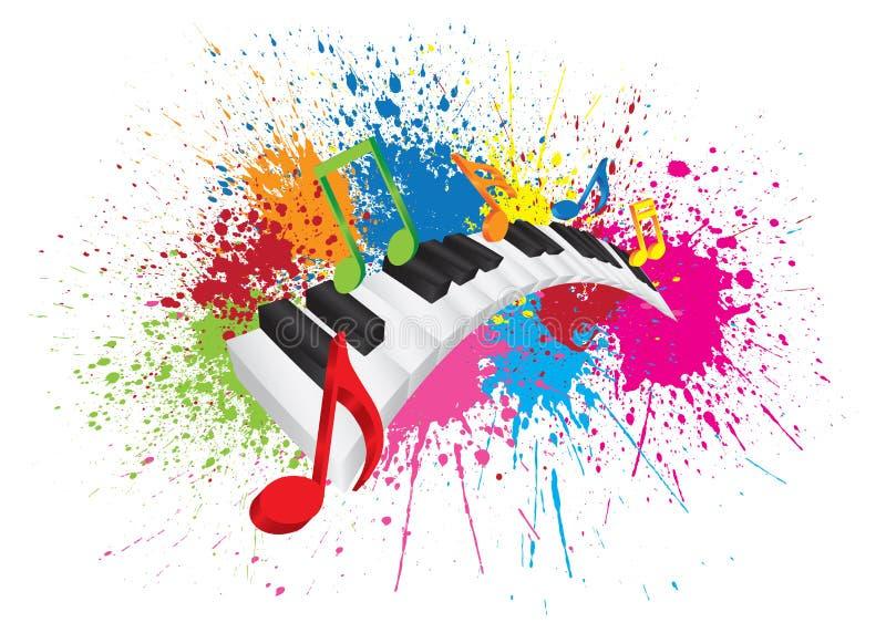 Verf van het piano ploetert de Golvende Toetsenbord Abstracte Illustratie vector illustratie