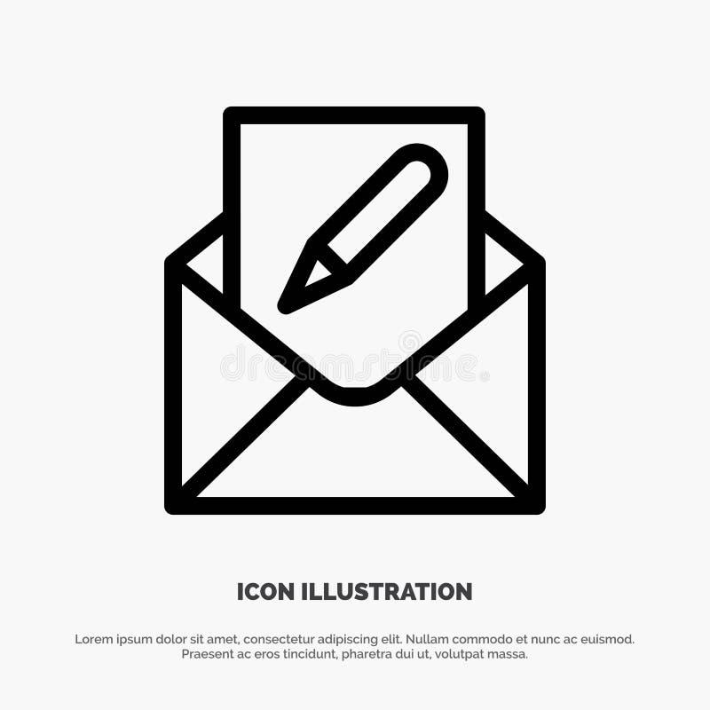 Verfassen Sie, redigieren Sie, emailen Sie, Umschlag, Post-Linie Ikonen-Vektor lizenzfreie abbildung