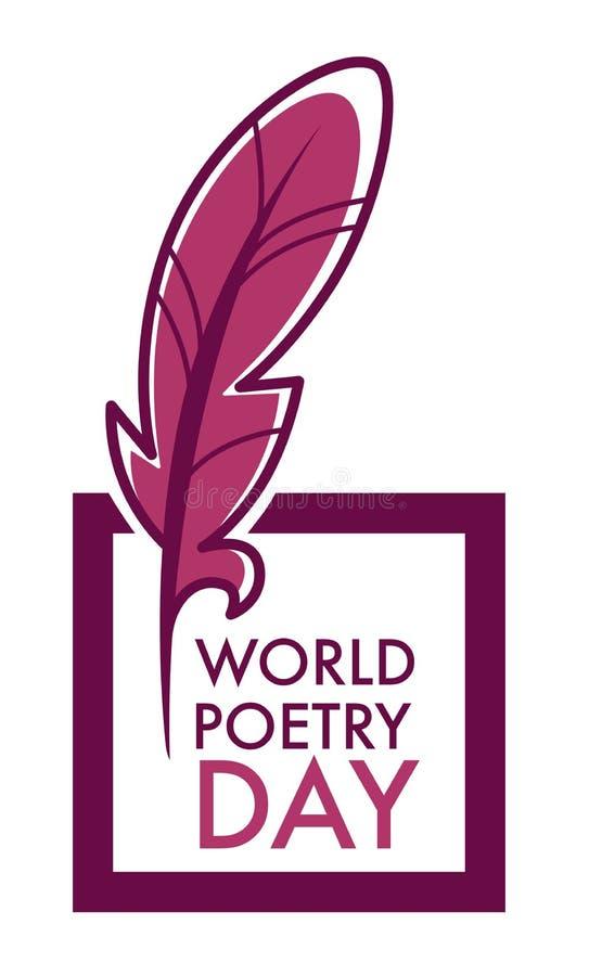 Verfasser und Ikonenfeder- und -buchvektorbuchhandlungs- oder -bibliotheksembleme der Poesie Tag lokalisierte und Logoliteraturfe lizenzfreie abbildung
