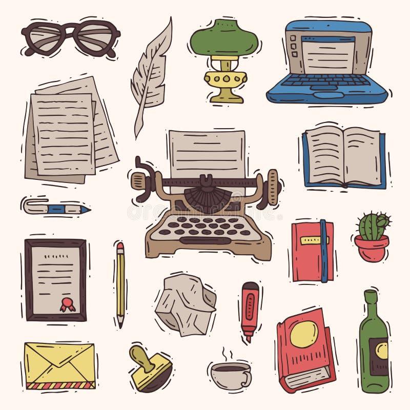Verfasserbüro-Vektorgeschäft auf Schreibmaschine und Werbetexterbuch auf Papier in copywriting Satz der Notizbuchillustration lizenzfreie abbildung