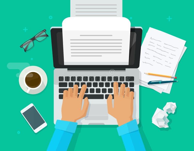 Verfasserschreiben auf Computerpapier-Blattvektorillustration, flacher Karikaturpersonenherausgeber schreiben elektronische Bucht stock abbildung