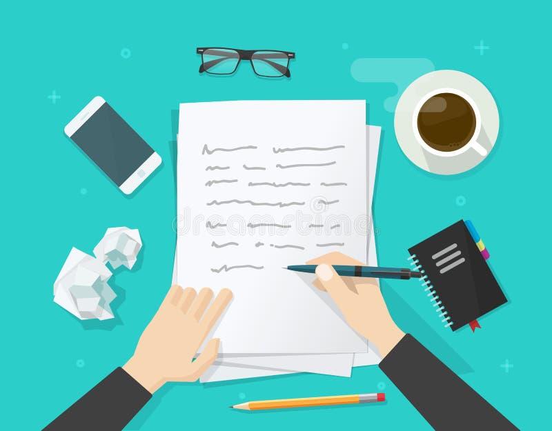 Verfasserschreiben auf Papierblatt, Arbeitsplatz, Autorndesktop, schreiben Brief lizenzfreie abbildung