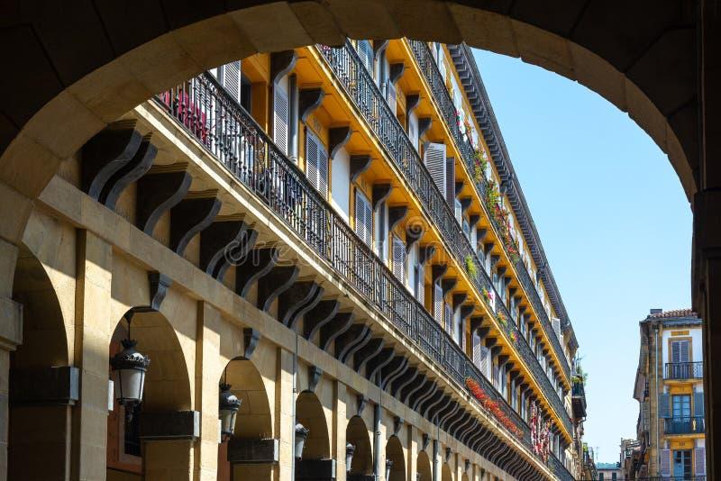 Verfassungsplatz in Donostia-San Sebastian, Spanien lizenzfreies stockfoto