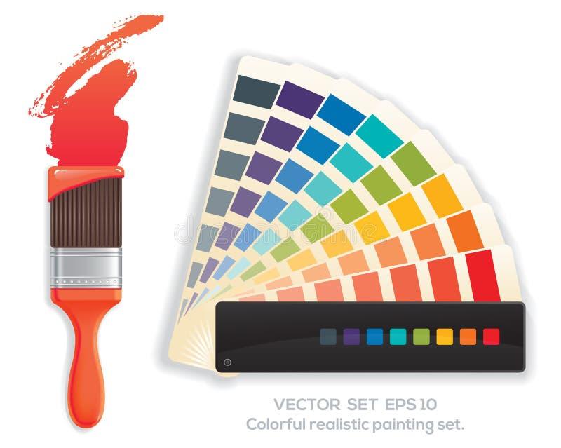 Verfborstel en kleurenwiel stock illustratie