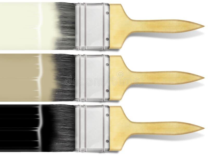 Verfborstel met kleurenslag op wit wordt geplaatst dat royalty-vrije stock fotografie