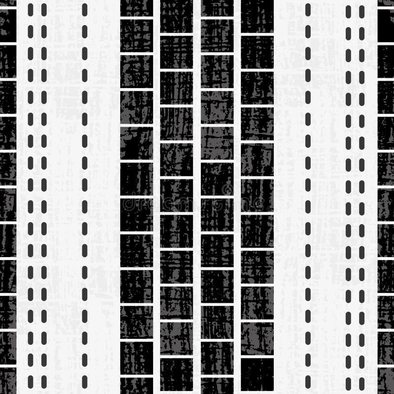 Verfijnd geometrisch zwart-wit vierkanten en steekontwerp met grungetextuur op subtiele geweven grunge stock illustratie