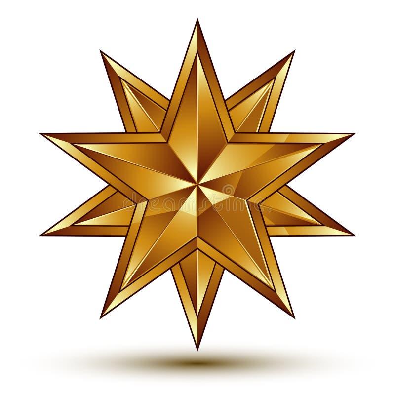 Verfijnd vector gouden sterembleem, 3d decoratief ontwerp Gr stock illustratie