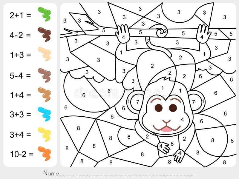 Verfkleur door aantallen - Aantekenvel voor onderwijs royalty-vrije illustratie
