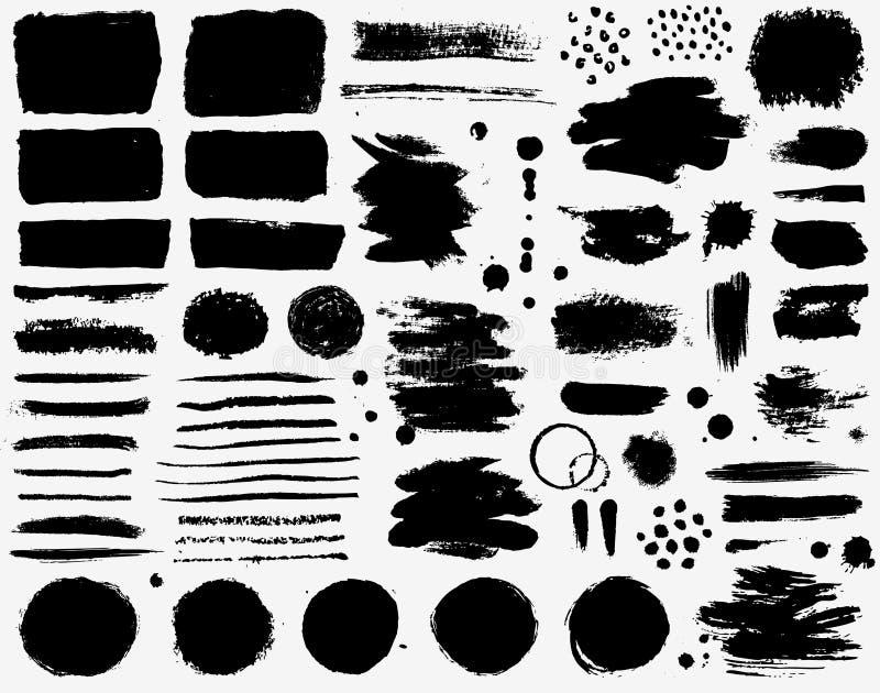 Verfkwaststreken en inktvlekken Grunge vectorinzameling stock illustratie